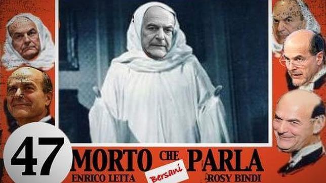 El montaje publicado por Beppe Grillo en su blog, con la imagen de Bersani