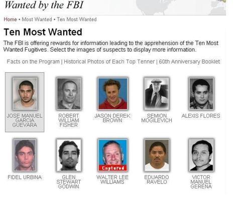 «Los diez más buscados» por el FBI ya son 500