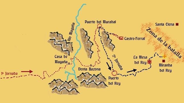 Plano del itinerario de la batalla de las Navas de Tolosa