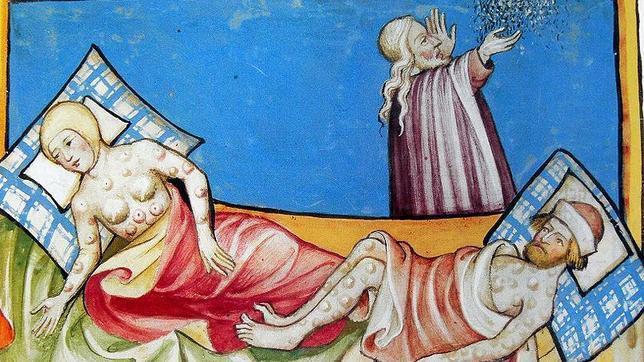 Ilustración de la Peste en la Biblia de Toggenburg (1411).