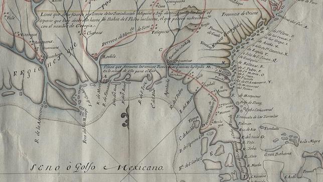 Mapa de las posesiones españolas en Norteamérica, en el que figura la antigua Santa Elena