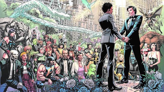 En una imagen simbólica, la boda del X-Men NorthStar con su pareja congregó a una multicultural bancada de superhéroes