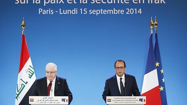 El presidente francés, François Hollande, y su homólogo iraquí, Fouad Massoum