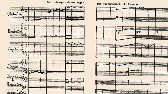 Singular partitura de notación enharmónica, de Luigi Rossolo (1913)