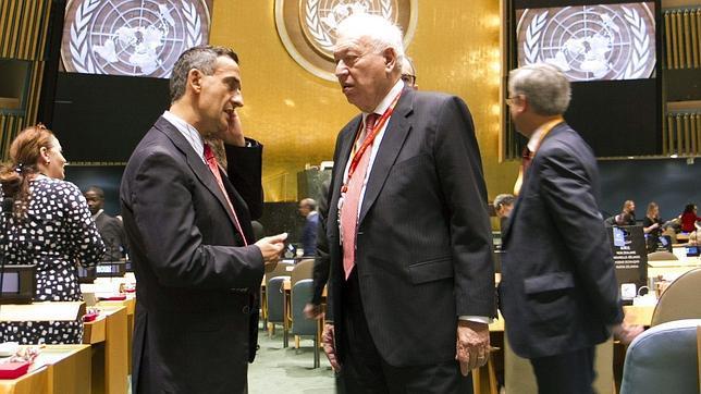 José Manuel García-Margallo (d), durante la Asamblea General de Naciones Unidas