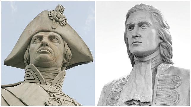Dos héroes, dos estatuas. Nelson, recordado, y Blas de Lezo, hasta hace muy poco, olvidado