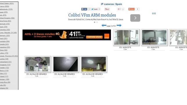 Captura de la polémica web que recoge enlaces a webcam de todo el mundo
