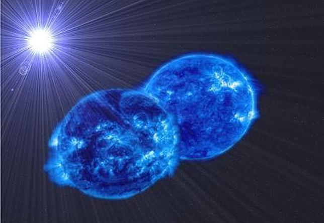 Representación artística del sistema MY Cam. Las estrellas están deformadas por su rapidísima rotación y la atracción gravitatoria de la compañera