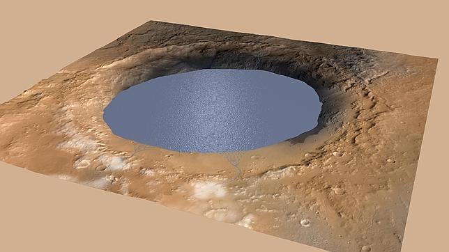 La ilustración muestra cómo un lago rellenaba parcialmente el cráter Gale