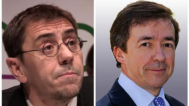 Juan Carlos Monedero, de Podemos; y José Carrillo, el rector actual de la Universidad Complutense de Madrid