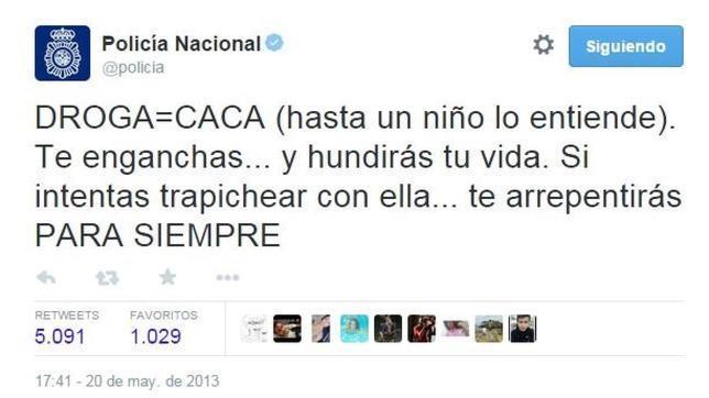 Del «droga=caca» al «Ola Ke Ase»: Los tuits más divertidos de la @policia