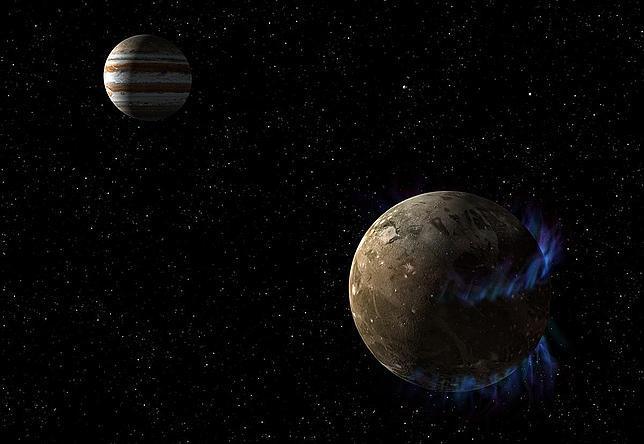 Ganímedes, y sus auroras, en órbita del planeta Júpiter