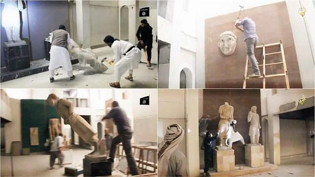 Los yihadistas destruyendo las estatuas que ahora se saben que eran falsas de Mosul