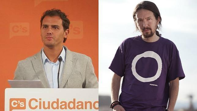 El líder de Ciudadanos, Albert Rivera, junto al número uno de Podemos, Pablo Iglesias