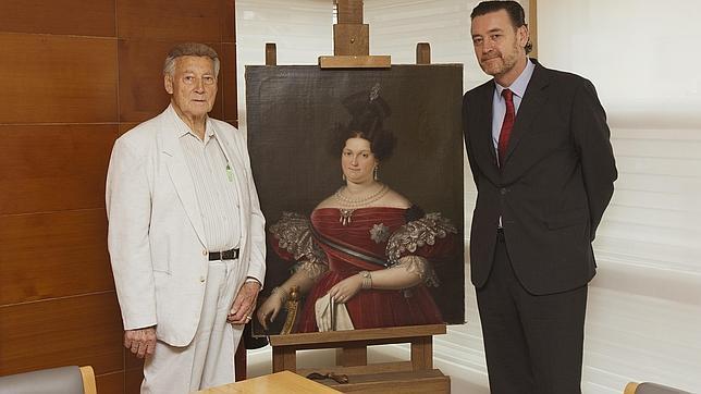 Manuel Linares y Miguel Zugaza, director del Prado, junto a la obra