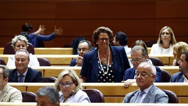 Rita Barberá, ocupando su escaño del Senado