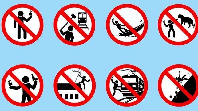 Imagen del folleto lanzado por el Ministerio del Interior de Rusia alertando sobre los peligros de los selfies.