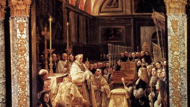 Pintura que muestra a Carlos II durante la bendición del Santísimo en la basílica de El Escorial
