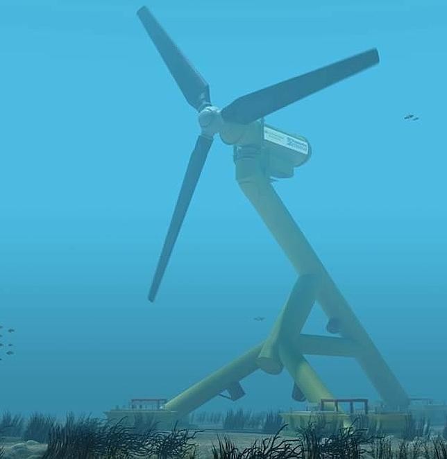 Turbina sumergidas en el suelo marino en la costa oesta de Escocia que aprovecha la energía de las mareas para producir electricidad