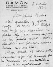 Carta inédita que Gómez de la Serna escribió a Gloria Fuertes, ABC
