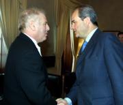 Daniel Barenboim y Manuel Chaves, tras la reunión ayer en Sevilla. Rocío Ruz