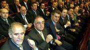 Madrid, Nalda, Posada y Herrera durante el acto conmemorativo ayer en el hemiciclo histórico del Senado.ICAL