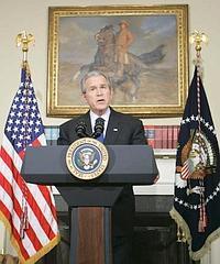 El presidente de Estados Unidos, George W. Bush, ha leído una declaración desde la Casa Blanca con motivo del cuarto aniversario de la invasión y ocupación angloestadounidense de Irak.