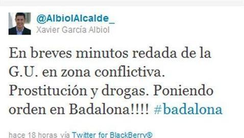El alcalde de Badalona anticipa en Twitter una redada de la Policia Local