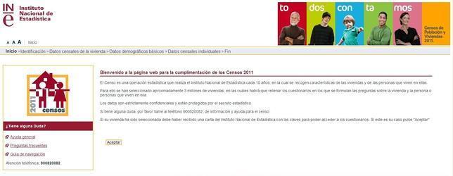 El INE insta a rellenar el censo de 2011 en una web que no funciona