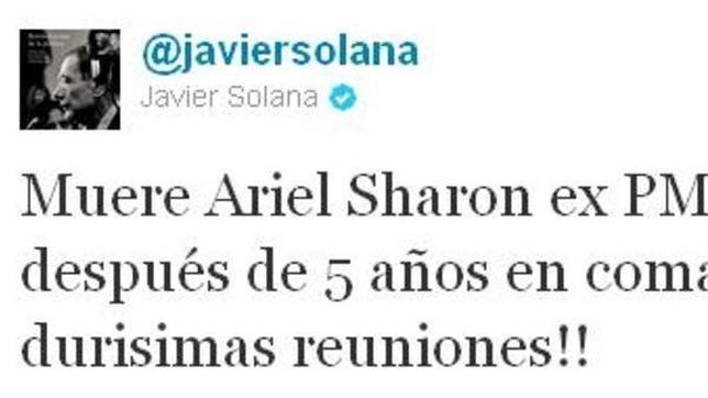 Javier Solana «mata» a Sharon en su Twitter