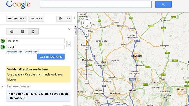 Google Maps hace una referencia a «El señor de los anillos»