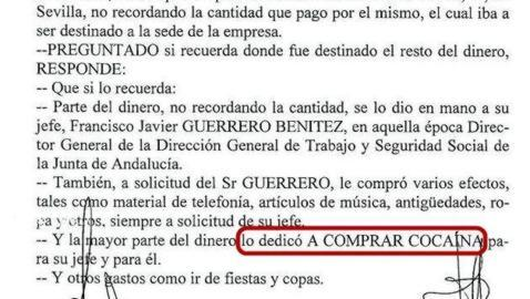 El exdirector de Trabajo en Andalucía niega que gastara el dinero de los ERE en cocaína