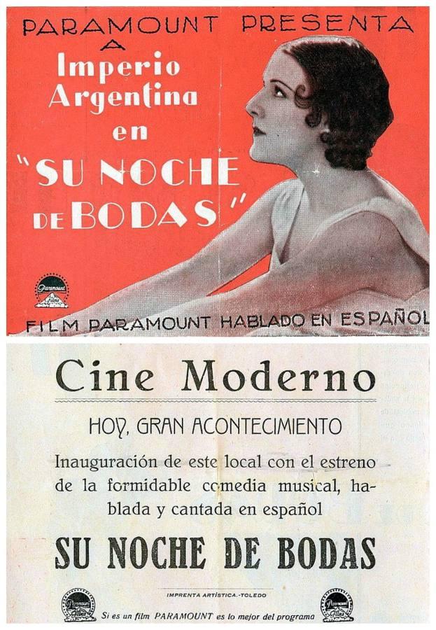 Programa de la proyección inaugural del nuevo Cine Moderno en 1932. (Archivo Municipal de Toledo)