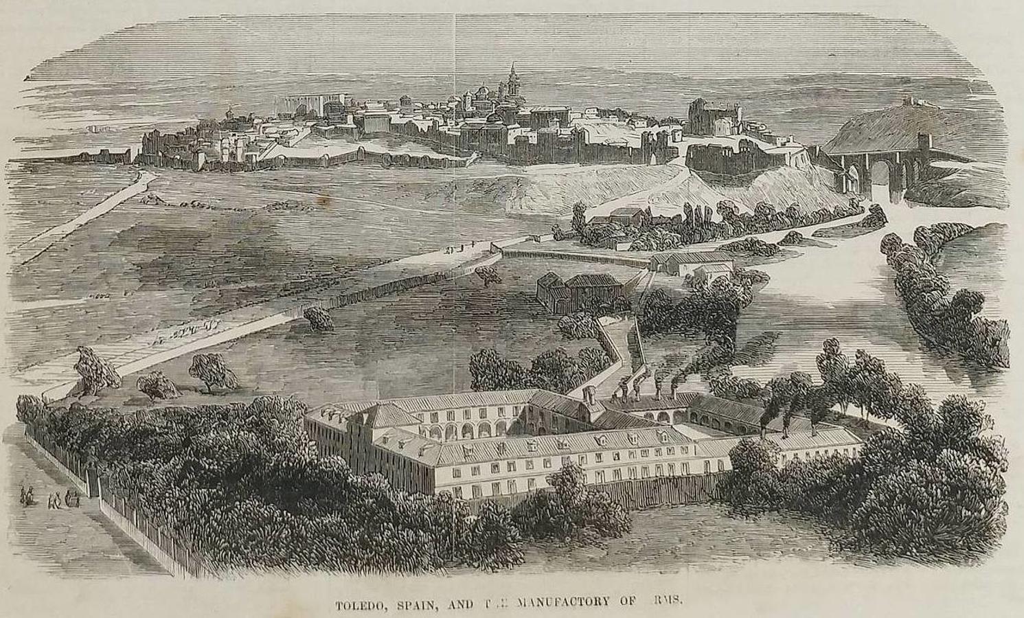 Un punto de partida para el despertar: la fábrica de armas con Toledo al fondo. Grabado aparecido en la revista Gleason's Pictorial Drawing-Room Companion, vol. VII, nº 16. Boston (USA), 21/10/1854