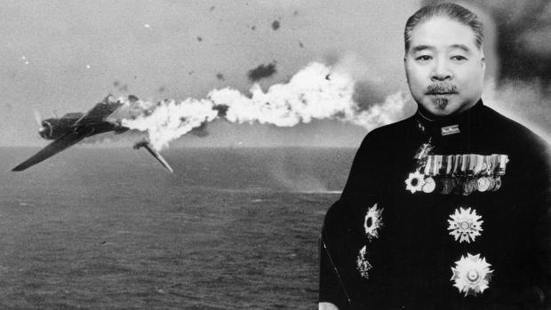 Admiral Teraoka, on the image of a World War II plane in full fall