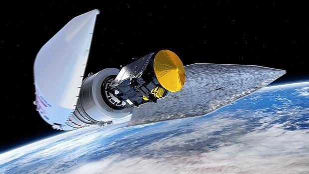 Representación artística de los protagonistas de ExoMars: la sonda orbital, el Trace Gas Orbiter (TGO), y el módulo de aterrizaje, el Schiapparelli