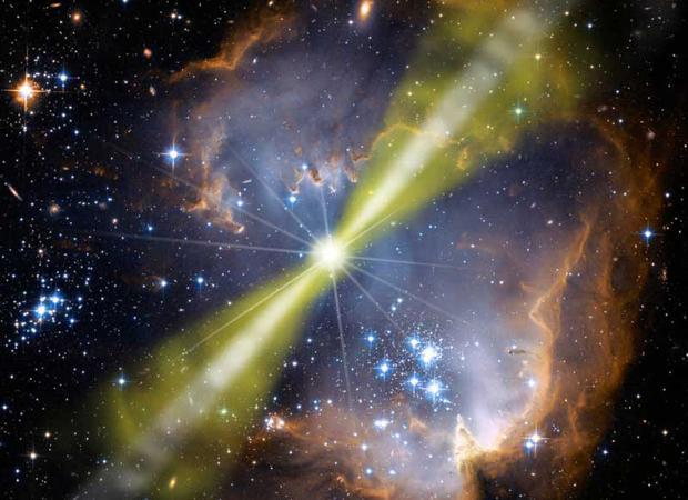 Representación de una ráfaga de rayos gamma. Pueden aparecer cuando una estrella muere y origina un agujero negro