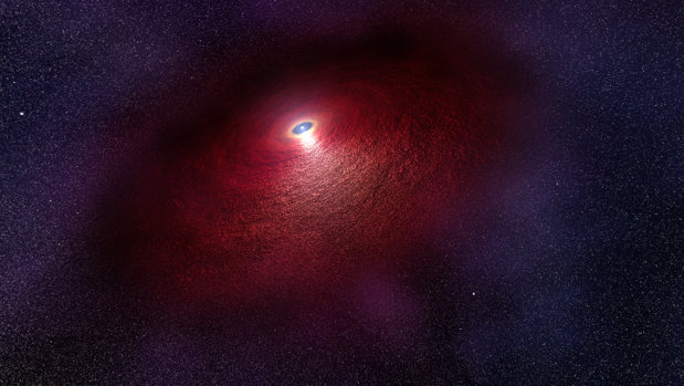 Recreación del disco alrededor de una estrella de neutrones