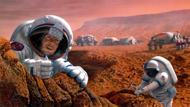Recreación de astronautas trabajando en Marte