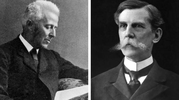 A la izquierda, el doctor Joseph Bell; a la derecha, el médico y filósofo Oliver Wendell Holmes