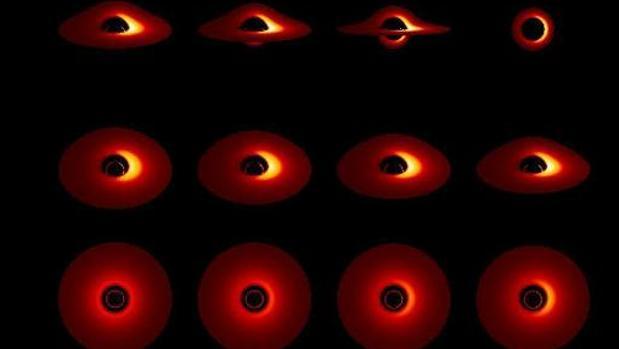Representación del disco de acreción de un agujero negro desde varios ángulos