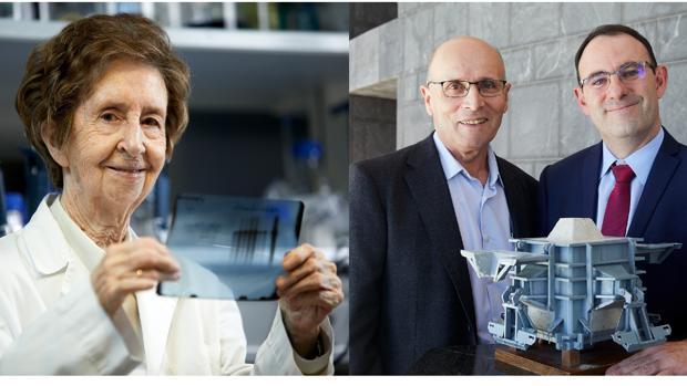 La investigadora Margarita Salas (izquierda) y los inventores Carlos Fermín (centro) y Antonio Corredor (derecha)