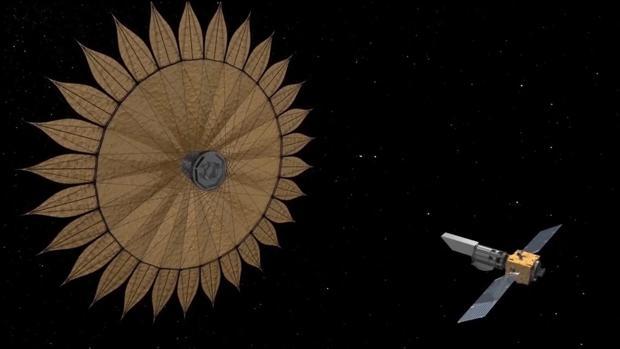 Concepto del coronógrafo espacial: un disco de 26 metros alineado con un telescopio espacia la una distancia de 40.000 kilómetros. Su objetivo es tapar la luz de las estrellas para ver mundos como la Tierra