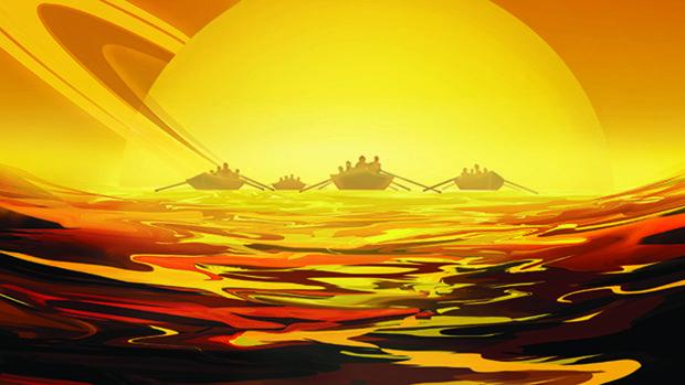 Futuros aventureros admiran Saturno desde uno de los lagos líquidos de Titán