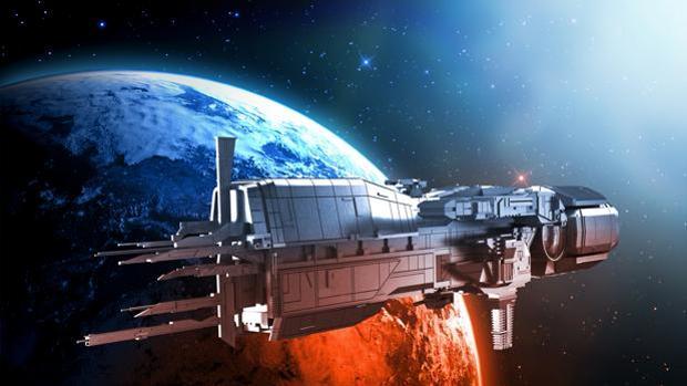 Concepto de nave espacial en un sistema solar lejano