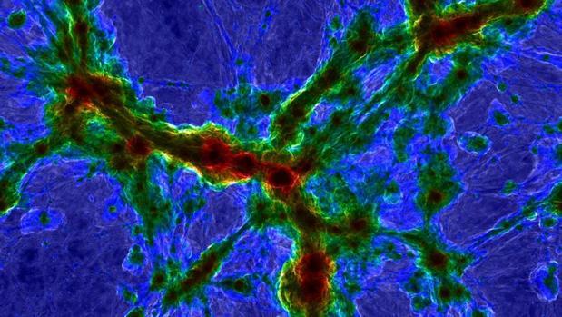 Simulación de un cúmulo de galaxias. Los centros galácticos, en rojo, están más calientes. Las partes brillantes corresponden a halos de gas difuso