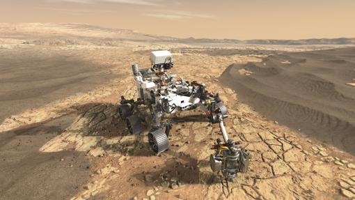 Representación del rover «Mars 2020», lanzado en 2020. Es muy similar al «Curiosity» pero va equipado con un brazo y un pequeño taladro