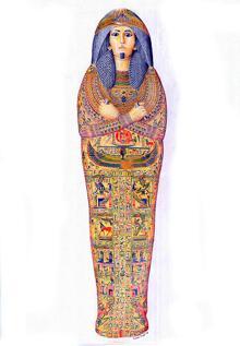 Dibujo del aspecto original del ataúd de Nesyamun