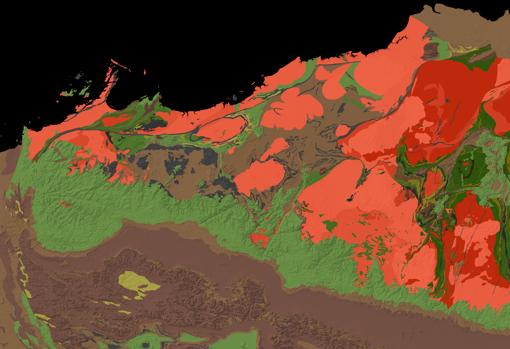 Un mapa geológico del cratón de Pilbara. Los autores del estudio estudiaron muestras (en tonos verdes) que datan de hace 3.200 millones de años. Para la escala, la imagen tiene unos 500 kilómetros de ancho
