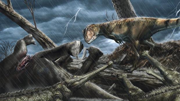En la ilustración, el depredador gigante Carcharodentosaurus observa a un grupo de Elosuchus, similares a los cocodrilos. Un auténtico paraíso para los depredadores